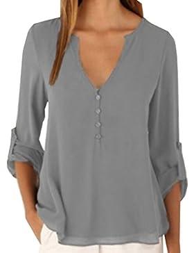 YMYY-Kleider Las Mujeres Cuello EN V Tops Dobladillo Irregular de Decoracion Camisas Sudadera Ocasionales Camisetas...