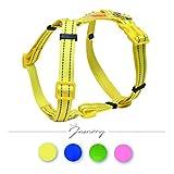 Jamory Hundegeschirr H Geschirr Welpengeschirr Zuggeschirr Softgeschirr Hund Nylon Reflektierend (L, Gelb)