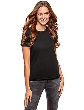 oodji Ultra Mujer Camiseta Básica de Algodón con Borde No Elaborado Sin Etiqueta