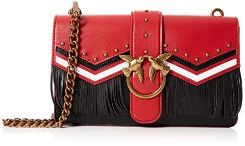 Pinko Love Tricolor Tracolla Vitello, Borsa a Spalla Donna, Multicolore (Rosso/Nero/Bianco), 9x16.5x28 cm (W x H x L)
