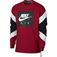 Nike M Nsw Air Crew Flc Top a Manica Lunga, Uomo, Gym Red/Bianco/Nero, L