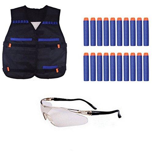 TILY Elite Tactical Vest Jacket + 20 Refill Soft-Dart Bullets + Schutzbrille Nerf Gun N-Strike Elite Series Pistole Foam Bullets Toy Guns (Kinder Nerf-gun-brille)