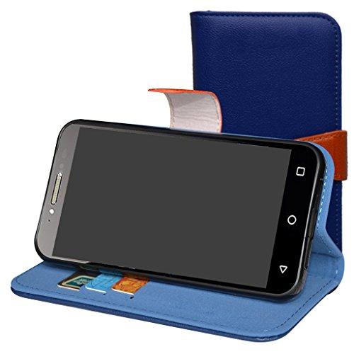 Alcatel Shine Lite Hülle,Mama Mouth Brieftasche Schutzhülle Case Hülle mit Kartenfächer und Standfunktion für Alcatel SHINE lite 5080X-2HALWE7 5080X-2DALWE7 5080X-2GALWE7 Smartphone,Deep blue