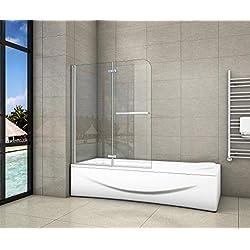 Pare-baignoire 120x140cm pivotant 180°en 6mm verre anticalcaire avec une poignée en Inox
