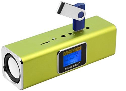 MusicMan MA Soundstation/Stereo Lautsprecher mit integriertem Akku und LCD Display (MP3 Player, Radio, Micro-SD Kartenslot, USB Steckplatz) grün (Wecker Ipod Cd-player)