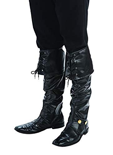 Pirate Boot Kostüm - Deluxe Black Pirate Boot Tops Adult Costume Accessory