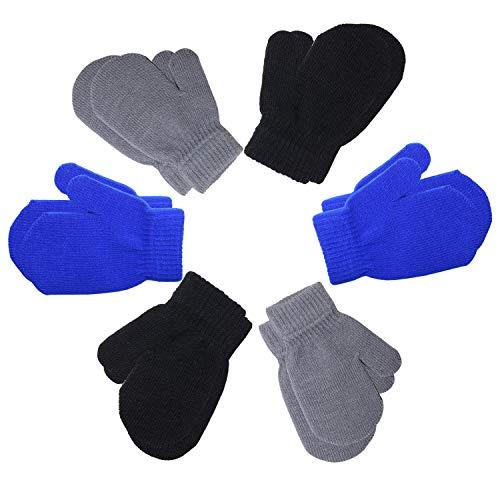 U&X 6 Paar Kleinkinder-Handschuhe für den Winter, Magic Stretch Fäustlinge Unisex Strickhandschuhe