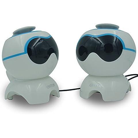 Altavoces perro del espacio RG Mini Bluetooth mejor respuesta de graves con el micrófono de la charla libre, compatible con PC portátil tableta del teléfono PSP, juego de 2 - Azul