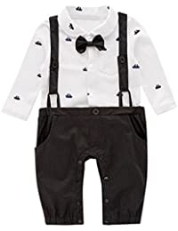 fbd18e5e6904 Hotsellhome New Children Baby Boy Gentleman Christening Suit Infant Formal  Outfit Boat Print Bowtie Pocket Romper