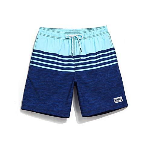 HIAO Sommer Shorts Männer Strand Polyesterfaser Sport Bequem Freizeit Urlaub Dunkelblau Hellblau Nähen Muster (größe : - Nähen Sie Ein Kostüm Tragen