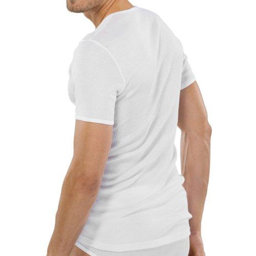 SCHIESSER Herren T-Shirt doppelripp 2er Pack Weiß (100-weiss)