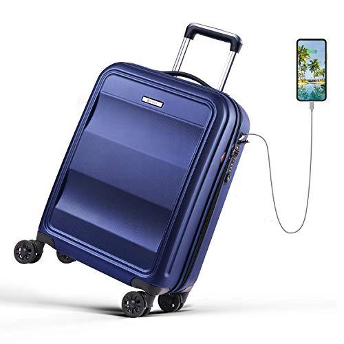 REYLEO Koffer, Trolley Handgepäck mit 4 Rollen Flug Hartschale Polycarbonat Reisekoffer Rollkoffer mit USB Ladeanschluss TSA-Schloss (Blau, (55cm 31.5L)) -