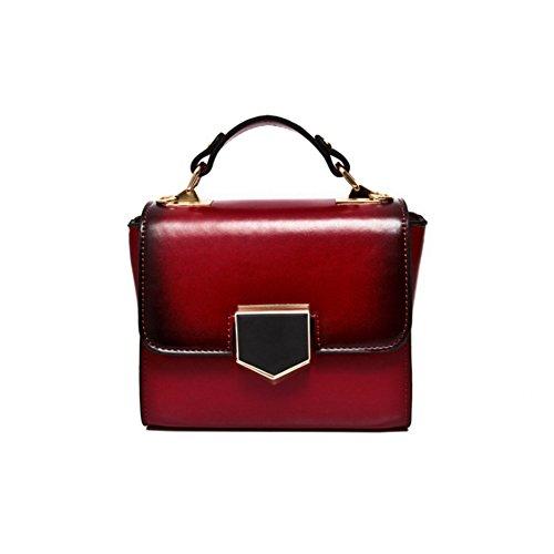 Kette Schulter Messenger Bag Tote Bag - Damen Rot Mini Kette Tasche (18Cm * 14Cm * 9Cm) - Leopard Mini Tote