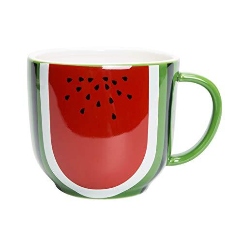 el & groove Wassermelonen 3D Tasse in rot grün aus Porzellan, Kaffee-/Teetasse groß 400 ml, Obst Deko, Obst Tasse, Becher, Melone, Küche Deko, Geschenk Vegetarier Veganer, Geschenk Weihnacht