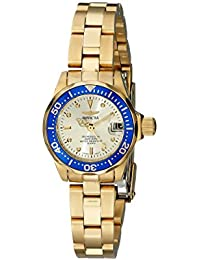 Invicta Pro Diver Women's Analogue Classic Quartz Watch with Stainless Steel Gold Plated Bracelet – 4610