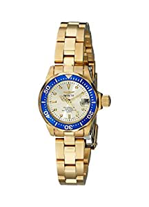 Invicta Women's Pro Diver Quartz Watch with Beige Dial Analogue Display and Gold Stainless Steel Bracelet 4610
