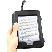"""DURAGADGET Funda Negra De Cuero En Estilo De Libro Para El Nuevo Kindle Touch, Wi-Fi,6"""" De Amazon (Última Generación, Marzo 2012) + Luz LED De Lectura Clip On Negra"""