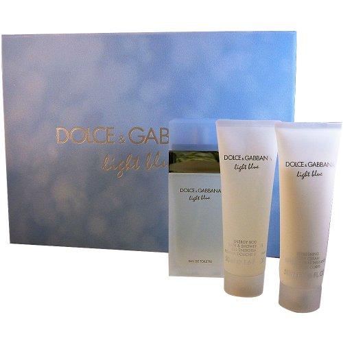 Gabbana Body Cream (Dolce & Gabbana Light Blue, femme/woman, Geschenkset (Eau de Toilette 50ml, Body-cream 50ml + All Over Shampoo 50 ml))