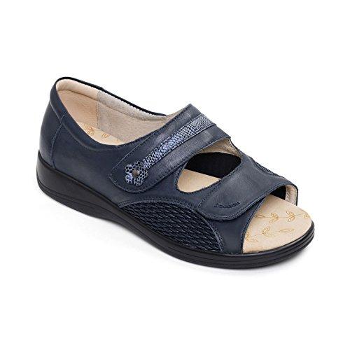 Padders 'Grace' grandi donne di pelle sandalo | Profondo e di grandi dimensioni | EEEE super grande larghezza | 35 millimetri tallone | calzascarpe libero Marina Militare
