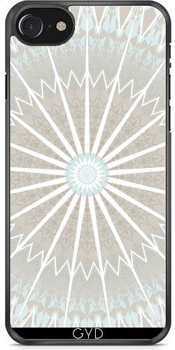 Leder Flip Case Tasche Hülle für Apple Iphone 7 Plus / 8 Plus - Hellblauen Und Taupe Mandala by Nina Baydur Plastica rigida