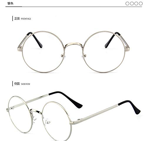 Ruiboury Unisex koreanische Weinlese-Brillen-runder Metallrahmen Brille-freies ()