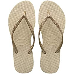Havaianas Slim Chanclas Mujer, Oro (SandGrey/Light Golden), 37/38 EU