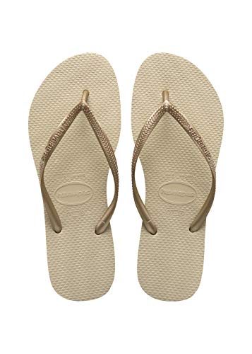 Havaianas Slim Infradito Unisex – Adulto, oro (Sand Grey/Light Golden 2719), 37/38 EU (35/36 Brazilian)