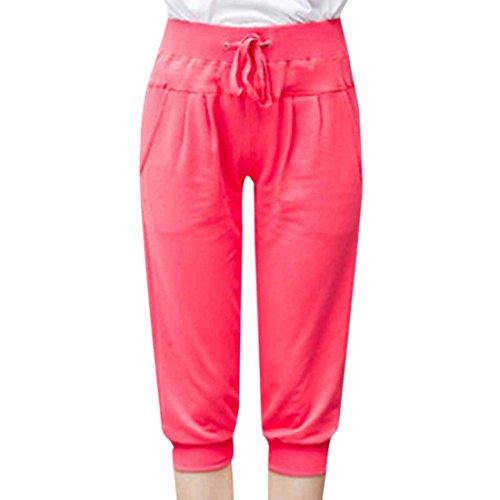 QIYUN.Z Femmes Pantalons De Course De Sport De Coton Solide Ceinture Cordon Occasionnels Pantacourt Pasteque Rouge