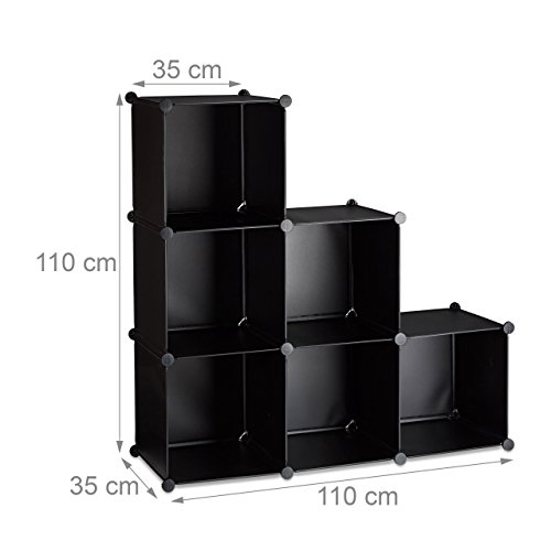 Relaxdays Stufenregal 6 Fächer, Steckregal als Kleiderschrank oder Raumteiler, offenes Regalsystem, schwarz