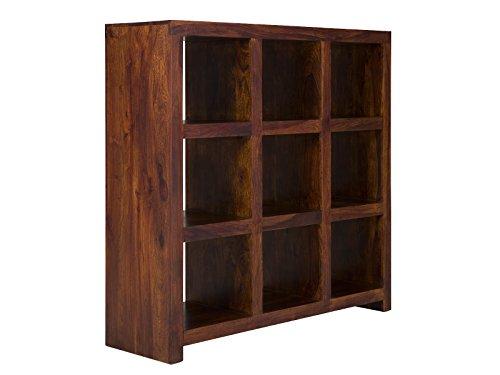 massivum Bücher-Regal Palison 130x138x42 cm aus Palisander-Holz massiv braun lackiert mit 9...