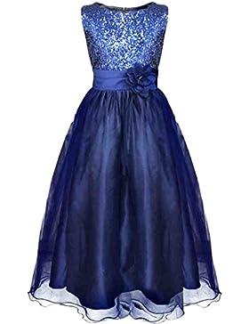 Tiaobug Kinder Mädchen Prinzessin Kleid Pailletten Kleid Festlich Blumen Kleid Hochzeit Festzug Gr.98-164