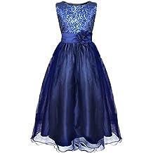 b47ddaf721b3 Tiaobug Kinder Mädchen Prinzessin Kleid Pailletten Kleid Festlich Blumen  Kleid Hochzeit Festzug Gr.98-