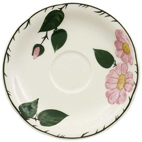 Villeroy & Boch - Wildrose Kaffee-Untertasse mit floralem Muster, Untertasse aus Premium Porzellan mit rosa Wildrose Dekor im Landhausstil, 16 cm