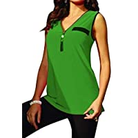 GRMO Women With Tassles V Neck Summer Pure Color Sleeveless Tank Top Cami Blouse Shirt Green 3XS