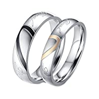 Aooaz 2 Pcs Rings Pair Friendship Rings Stainless Steel Silver Love Heart Puzzle Rings Free Engraving Women L 1/2 & Men Z 1/2 Novelty Jewelry Gift