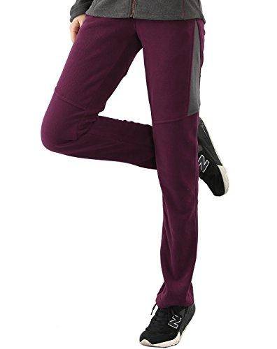 Polar Fire termica in pile pantaloni per donne pantaloni pantaloni softshell da donna, arrampicata all' aperto escursionismo jogging da ragazza, in pile, con zip, tasche, sport invernali caldi pantalo Red
