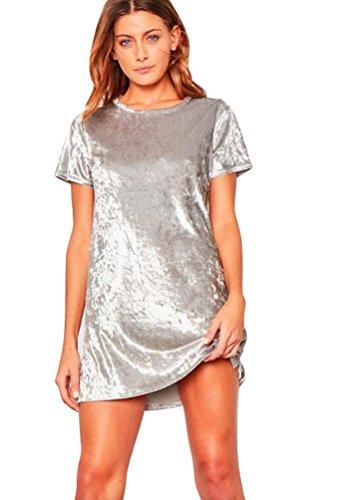 YuanDian Donna Velluto Spiegazzato Casual Top T-shirt Larga Lungo Top Camicetta Abito XL Argento