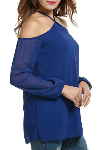 HOTOUCH Damen Neckholder Chiffonbluse Schulterfrei Langarm Casual T-Shirt Blusenshirt Typ1-Dunkelblau