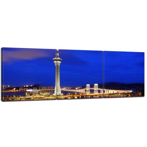 bilderdepot24-cuadros-en-lienzo-panorama-macau-en-la-noche-de-china-90x30-cm-3-piezas-enmarcado-list