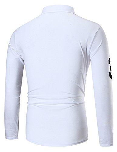 YCHENG Poloshirt Herren Langarm Slim fit Polokragen Polohemd Freizeit Sport Weiß
