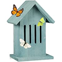 Relaxdays Hanging Butterfly House, Insect Hotel for the Garden or Balcony, Peacock Butterfly, HxWxD: 25.5 x 18.5 x 12 cm, Turquoise