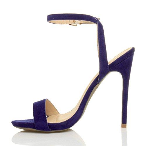 Ajvani Femmes haute talon fête à peine là boucle lanières sandales chaussures pointure Bleu De Cobalt Daim