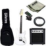 Vault ST1RW Strat Style Electric Guitar Basic Bundle (Rosewood Fretboard, White)