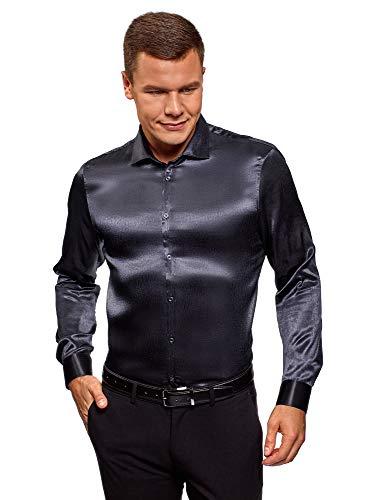 Oodji ultra uomo camicia in raso dritta, blu, 42 сm/it 42 / l
