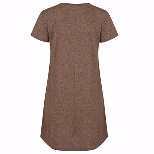 Vovotrade Manica corta donne camicia signore casuali lace Pullover Tops Blouse Caffè