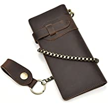Cartera larga de cuero genuino de los hombres con bolsillo con cremallera Monedero de la billetera Bifold de la vendimia