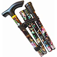Walking Stick, Easy Adjustable Height Folding Extendable Walking Cane, Lightweight Flexible and Durable Walking Aid Mobility Aid Collapsible Walking Stick (Black Flower)