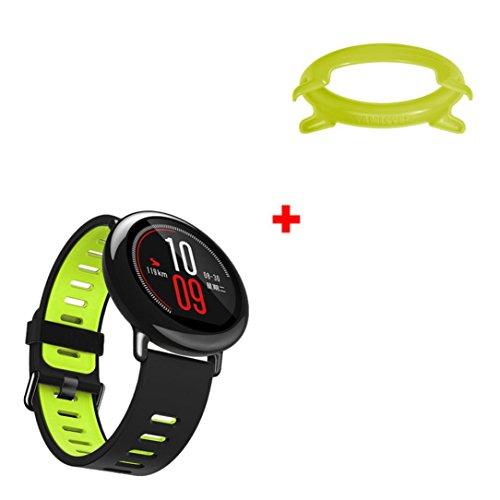 Ansenesna Sport Silikon Armband + Rahmen Fall Abdeckung Für HUAMI AMAZFIT Smart Watch (Grün)