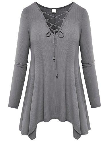 Aidonger donna maglia scollo v a maniche lunga irregolare s-xl (s, grigio)