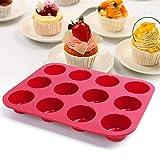 JEANS DREAM Stampo in Silicone 12 Tazza Antiaderente Stampo per Vassoio Muffin Pan Cottura Gelatina Colore Casuale